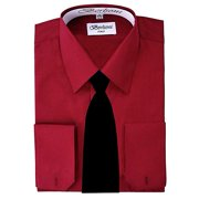 Berlioni Italy French Convertible Cuff Solid Mens Dress Shirt with Black Tie