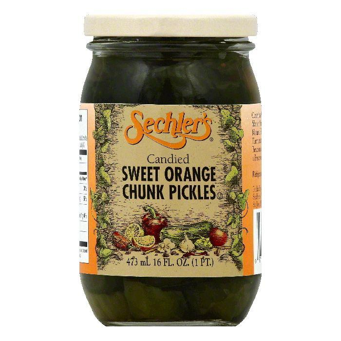 Sechlers Chunk Sweet Orange Candied Pickles, 16 OZ (Pack of 6)