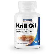 Nutricost Krill Oil 1000 mg, 60 ct Liquid Omega 3 EPA-DHA Softgels