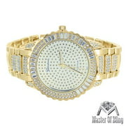 14k Gold Tone Watch Round Face Baguette Lab Created Cubic Zirconia Geneva Joe Rodeo Jojino Look