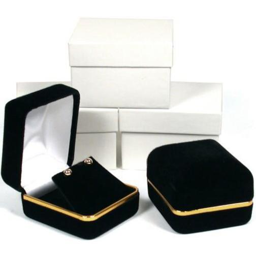 3 Black Velvet Earring Jewelry Gift Boxes Displays