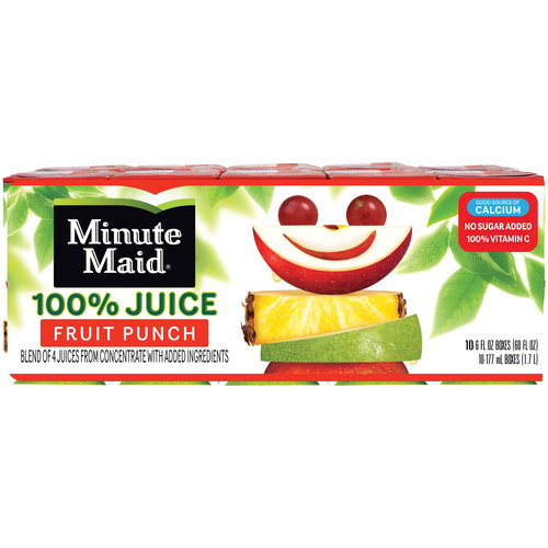 Minute Maid 100% Juice, Fruit Punch, 6 Fl Oz, 10 Count