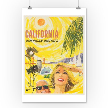American Airlines - California Vintage Poster (artist: Boyle) USA c. 1960 (9x12 Art Print, Wall Decor Travel Poster)
