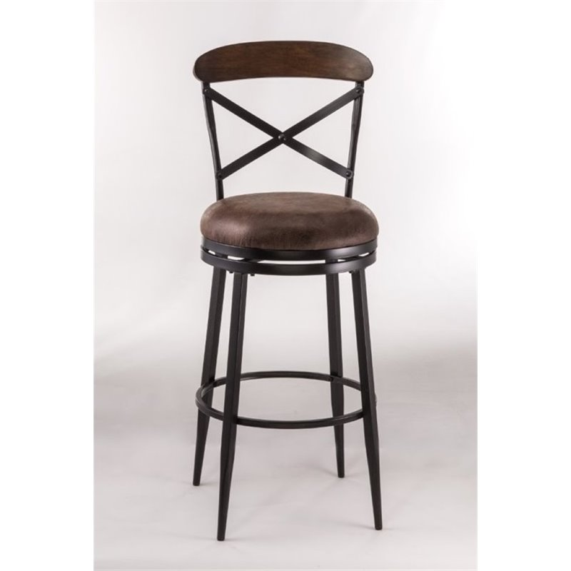 """Bowery Hill 26"""" Faux Leather Swivel Counter Stool in Black"""
