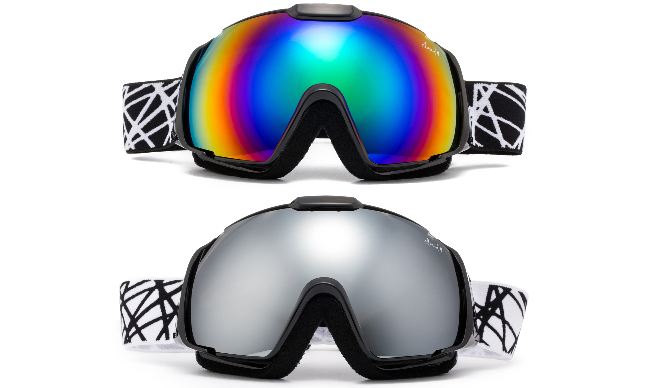 "Cloud 9 Snow Goggles ""Wildcat"" Adult Anti-Fog Wide Angle Framless UV400 Snowboarding Ski in Green (1 Pair... by"
