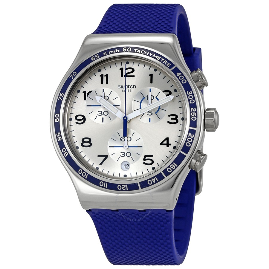 Swatch Frescoazul Silver Dial Mens Chronograph Silicone Watch YVS439 by Swatch