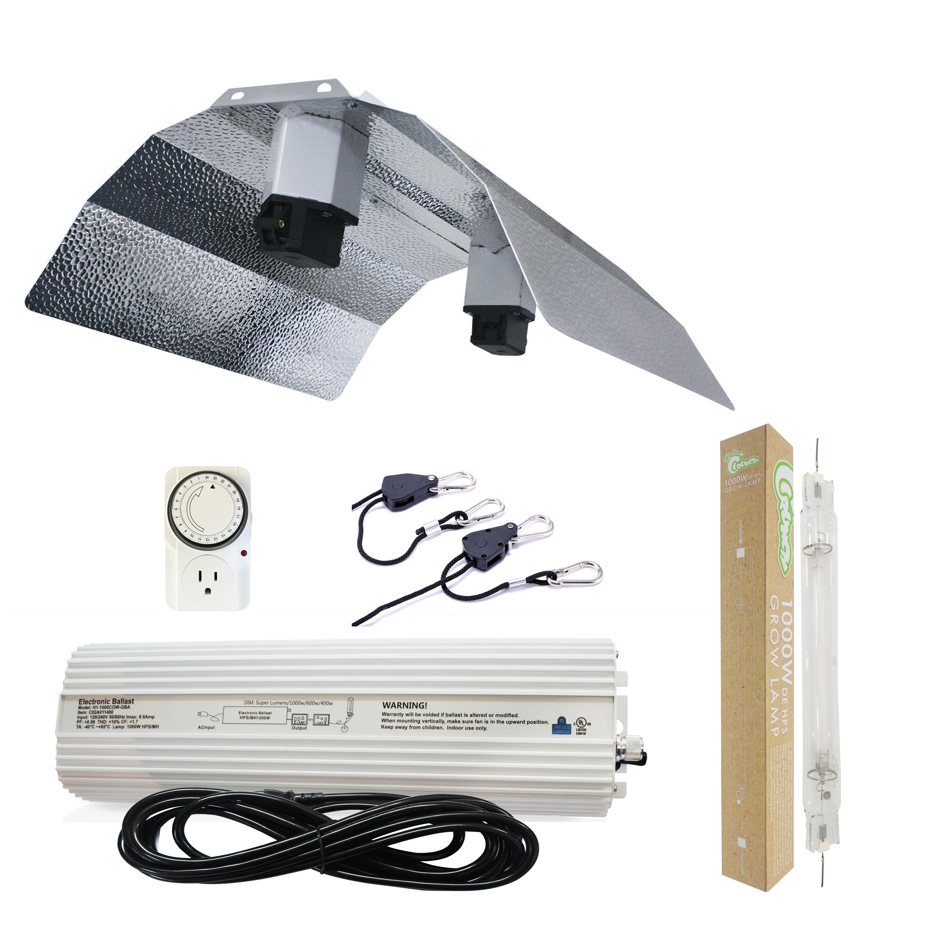 Hydro Crunch 1000-Watt Double Ended HPS 120/240V Grow Light System with DE Basic Wing Grow Light Reflector