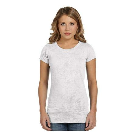 Bella Women's Lightweight Cap Sleeve Sheer Burnout T-Shirt, Style (Sheer Cap Sleeve Baseball Tee)