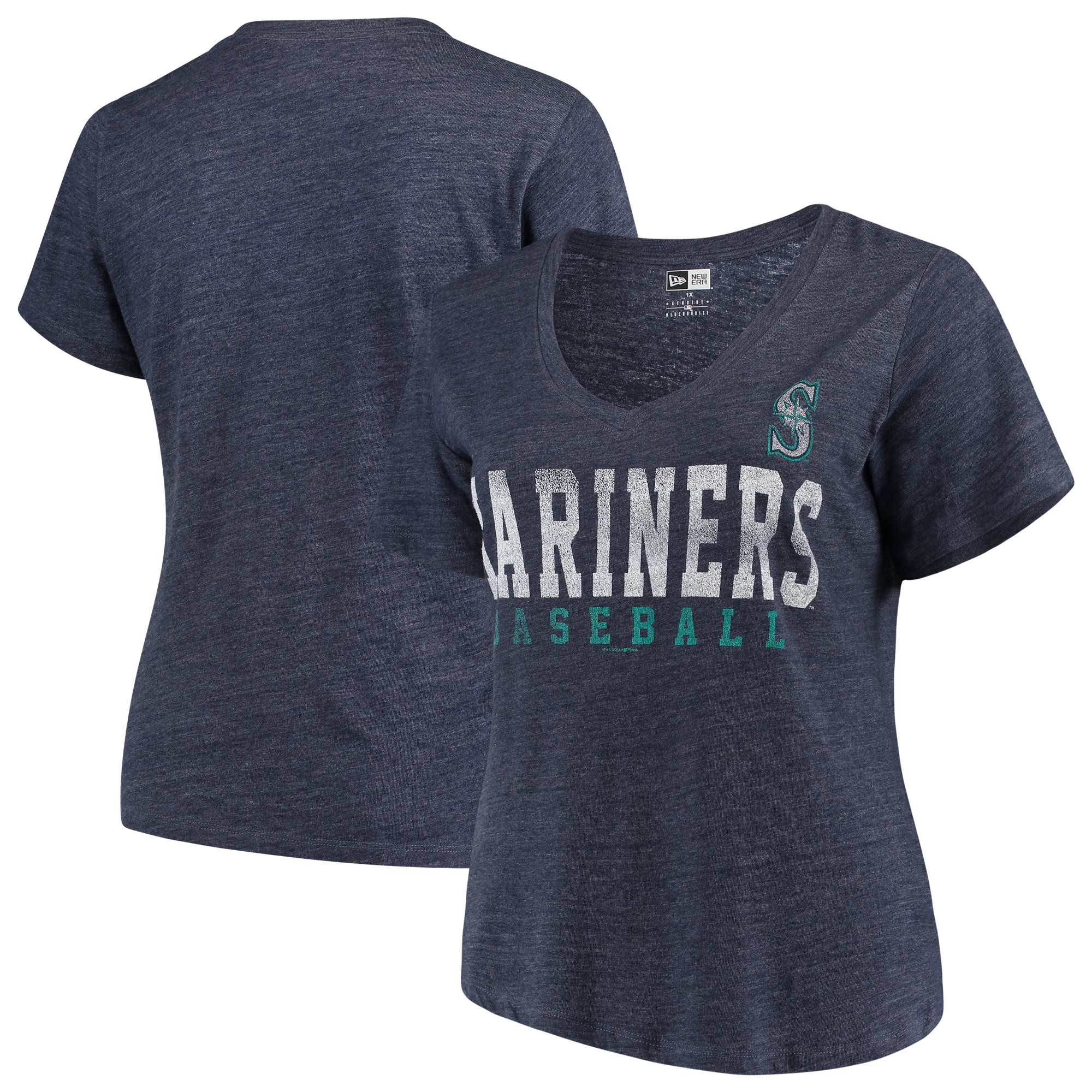 Seattle Mariners 5th & Ocean by New Era Women's Plus Size Tri-Blend Jersey V-Neck T-Shirt - Navy