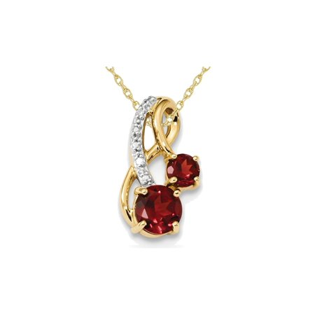 Gold Garnet Chain (1.30 Carat (ctw) Mozambique Garnet Pendant Necklace in 14K Yellow Gold with Chain )