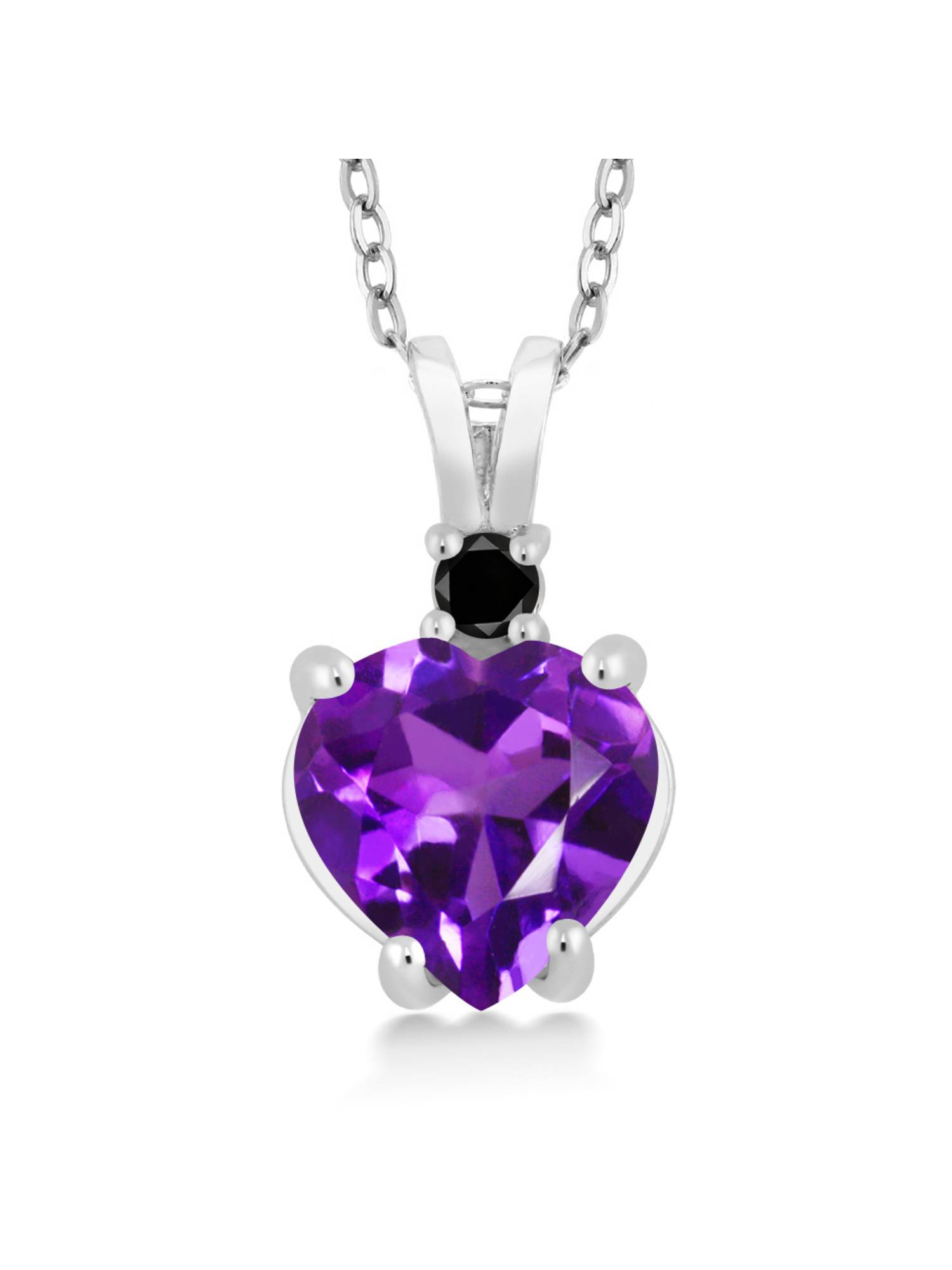 14K White Gold Heart Pendant set with 1.67 Ct Purple Amethyst & Black Diamond by
