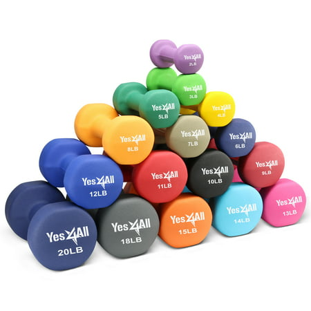 Yes4All Neoprene Dumbbell with Non Slip Grip Great for Total Body Workout pairs 2lbs - 20lbs