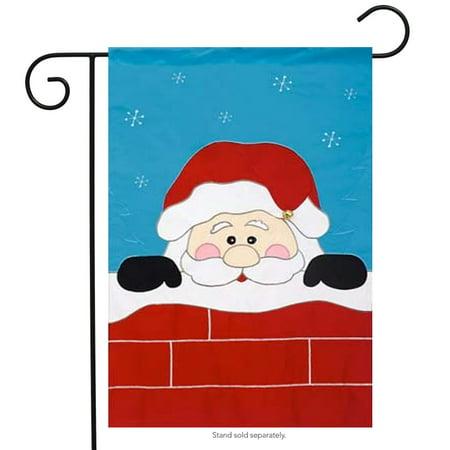 Peek -A-Boo Santa Garden Flag Christmas Applique Chimney Banner  12.5