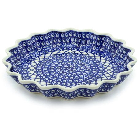 Polish Pottery 10½-inch Fluted Pie Dish (Lattice Peacock Theme) Hand Painted in Boleslawiec, Poland + Certificate of Authenticity