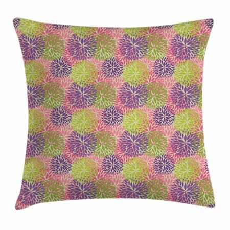 Garden Art Throw Pillow Cushion Cover, Colorful Petals of Chrysanthemum Ornamental Arrangement Vintage Fall Season, Decorative Square Accent Pillow Case, 20 X 20 Inches, Multicolor, by Ambesonne ()