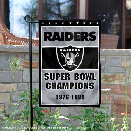 Oakland Raiders 2 Time Super Bowl Champions 12 5   X 18   Large Nfl Garden Flag