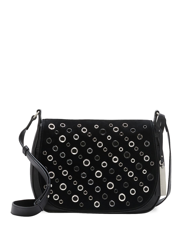 Chip Leather Crossbody Saddle Bag