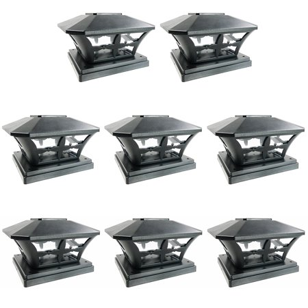 iGlow 8 Pack Black / White Outdoor Garden 6 x 6 Solar SMD LED Post Deck Cap Square Fence Light Landscape PVC Vinyl Wood (Vinyl Deck Fence)