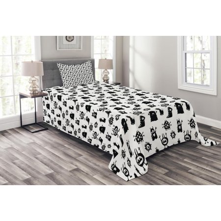 Alien Bedspread Set, Monochrome Monster Silhouettes Childish Drawings of Otherworldly Beings Halloween, Decorative Quilted Coverlet Set with Pillow Shams Included, Black White, by Ambesonne (Being Black And White For Halloween)