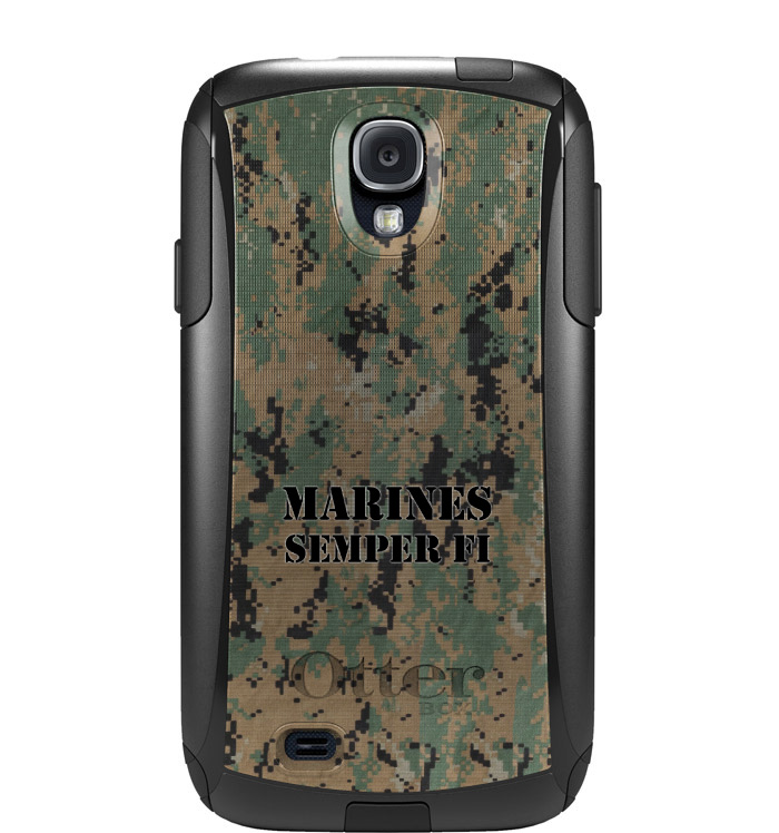 DistinctInk™ Custom Black OtterBox Commuter Series Case for Samsung Galaxy S4 - Camo Marines Semper Fi