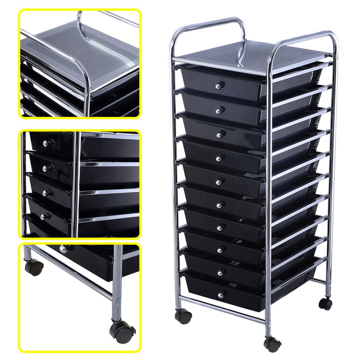 Costway 10 Drawer Rolling Storage Cart Scrapbook Paper Of...