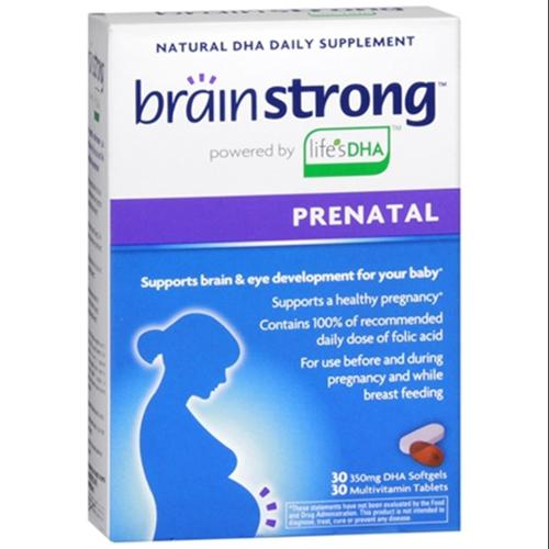 Brainstrong Multivitamin Tablets + DHA Softgels Prenatal 30 Soft Gels (Pack of 2)
