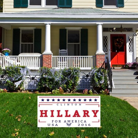 Hillary For America 12 X24  Corrugated Plastic Sign  Set Of 2  With 4 Short Stake  2 For Each Sign