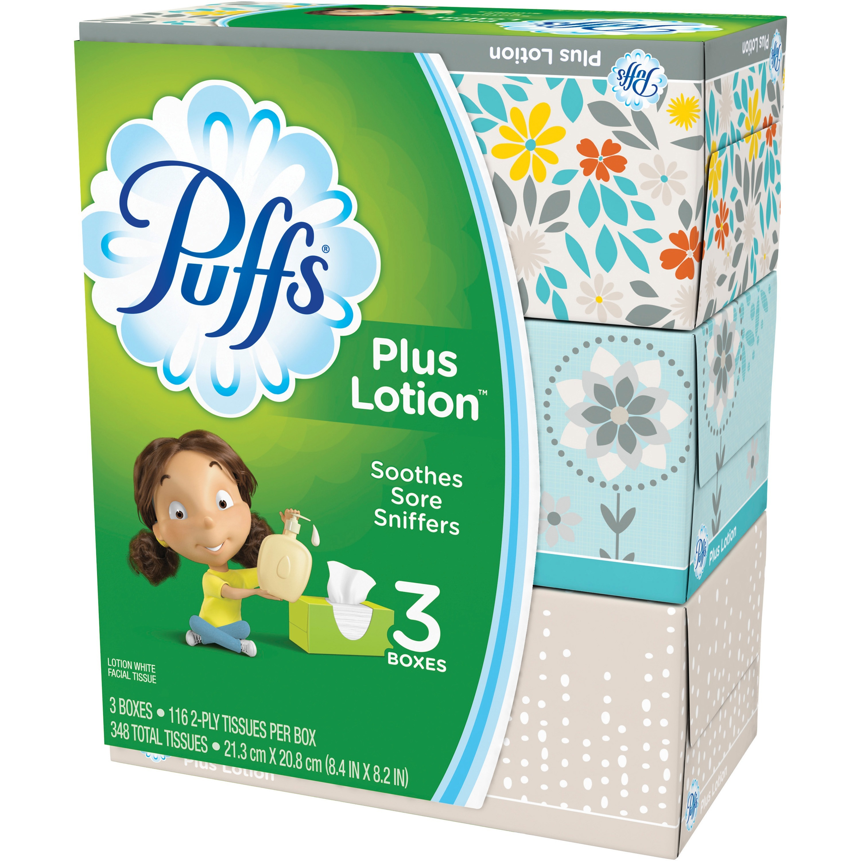 Puffs, PGC82086CT, Plus Lotion Facial Tissues, 24 / Carton, White