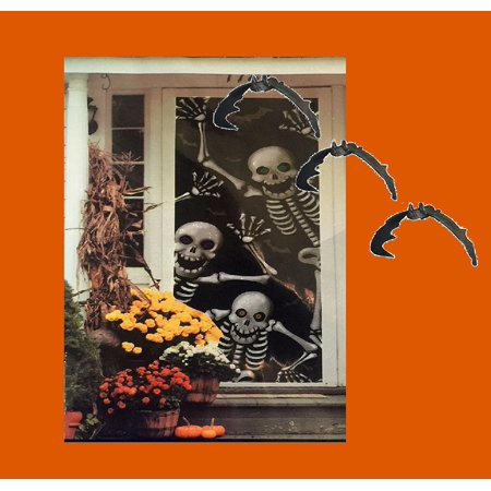 - Skeleton Door and Window Cling Cover and 3 Hanging Doorway Spooky Black Bats, Creepy chilling skeleton Door and Window coverings will entertain your.., By Combined Ship from US