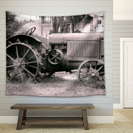 wall26 - Old Tractor with Iron Wheels is Thrown on a Roadside - Fabric Wall Tapestry Home Decor - 51x60 inches