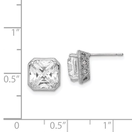6099ab2a5 IceCarats - 10k White Gold Cubic Zirconia Cz Post Stud Earrings ...