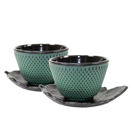 2 Black Leaf Teacup Saucer + 2 Green Polka Dot Hobnail Japanese Cast Iron Tea Cup Teacup