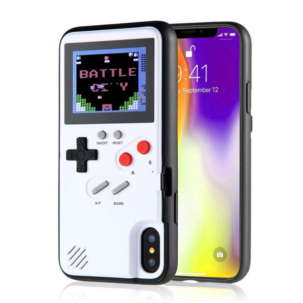 Gameboy Case for iPhone,Retro 3D Gameboy Design Style Silicone Cover Case with 36 Small Games,Color Screen,Video Game Cover Case for iPhone ...