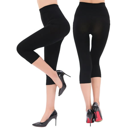 Capri Spandex Tie - Women's High Waist Seamless Stretchy Spandex Yoga Pants Opaque Capri Leggings Jegging Black Size S-3XL