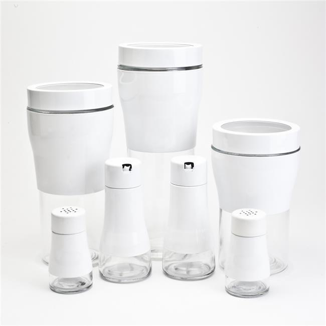 Blue Harbor 31895 Glass Storage Jar Set with White Metal Sleevee - 7 Piece
