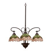 Cabbage Rose 3-Light Chandelier in Pink and Green