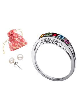 Family Jewelry Personalized Mother's Birthstone I Love You Ring with Bonus Pearl Earrings