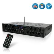 PYLE PTA66BT - Bluetooth Audio Amplifier, 6-Ch. Audio Source Desktop Stereo Receiver System with FM Radio, MP3/USB/SD/AUX Playback (600 Watt)