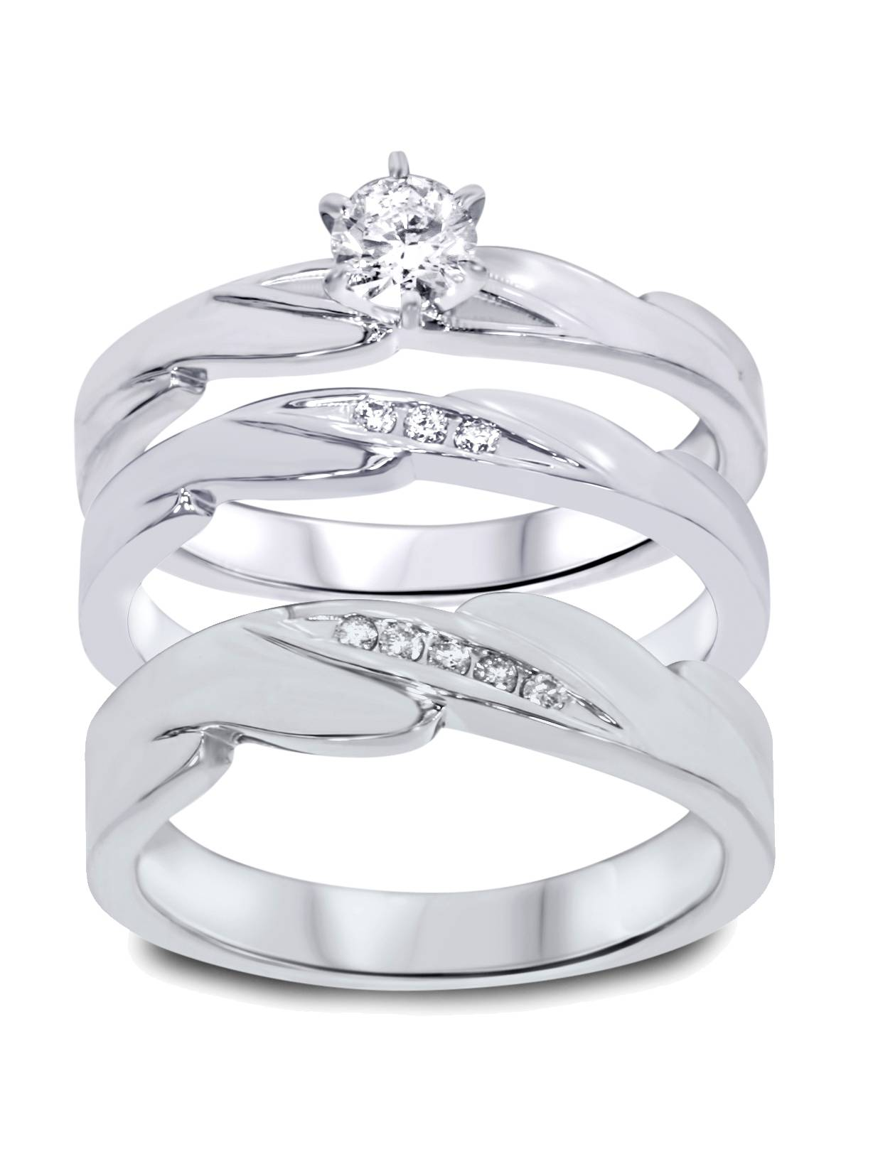 1/3ct Diamond Engagement Wedding Ring Trio Set 10K White Gold