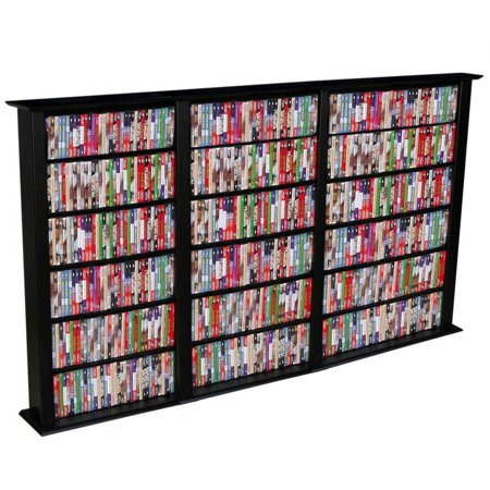 Triple Wide Media Storage Tower in Black Finish by