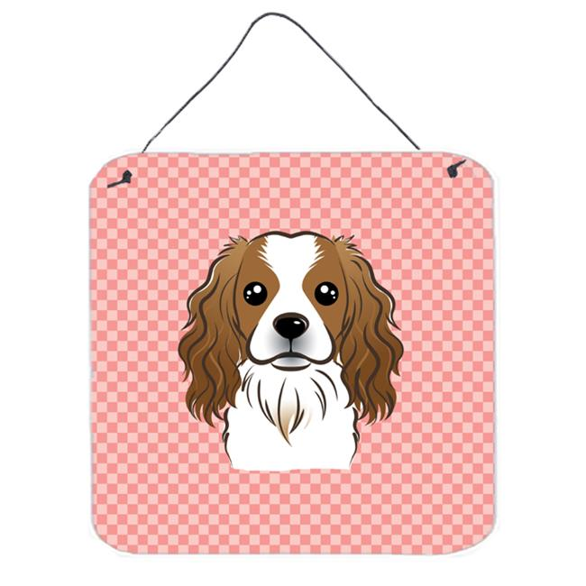 Checkerboard Blue Cavalier Spaniel Aluminum Metal Wall Or Door Hanging Prints, 6 x 6 In.