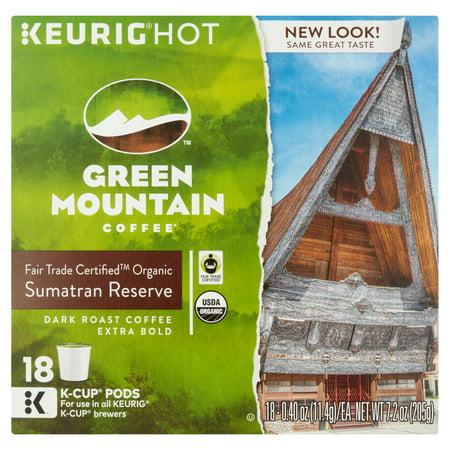 Keurig K-Cups, Green Mountain Sumatran Reserve Coffee, 18 ct