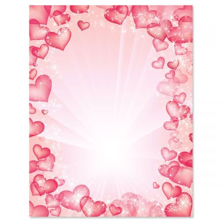Celestial Hearts Letter Papers - Set of 25 Valentine'stationery papers are 8 1/2