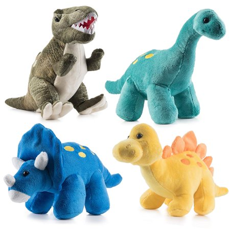 Prextex High Qulity Plush Dinosaurs 4 Pack 10'' Long Great Gift For Kids Stuffed Animal Assortment Great Christmas Gift Set for Kids for $<!---->