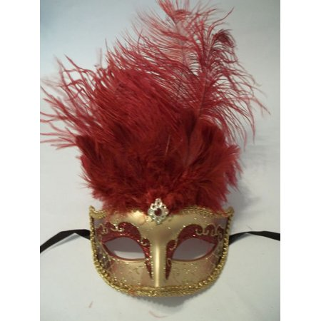 Dark Red Mardi Gras Venetian Feather Mask Masquerade - Red Feather Mask