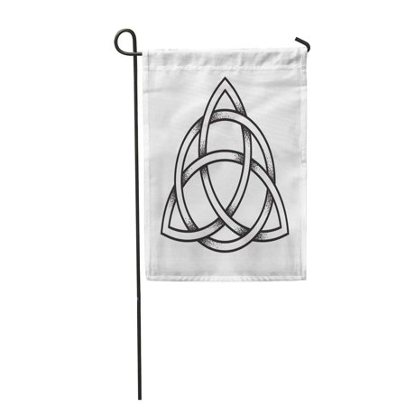 LADDKE Triquetra Trinity Knot Dot Work Ancient Pagan Symbol of Eternity Garden Flag Decorative Flag House Banner 12x18 inch