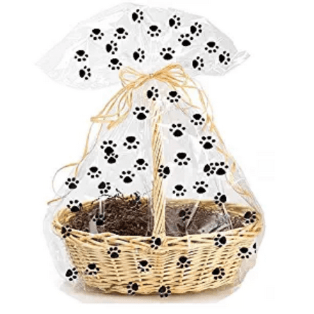 Printed Gift Bags (5pack Paw Print Gift Wrap Packaging Cellophane)