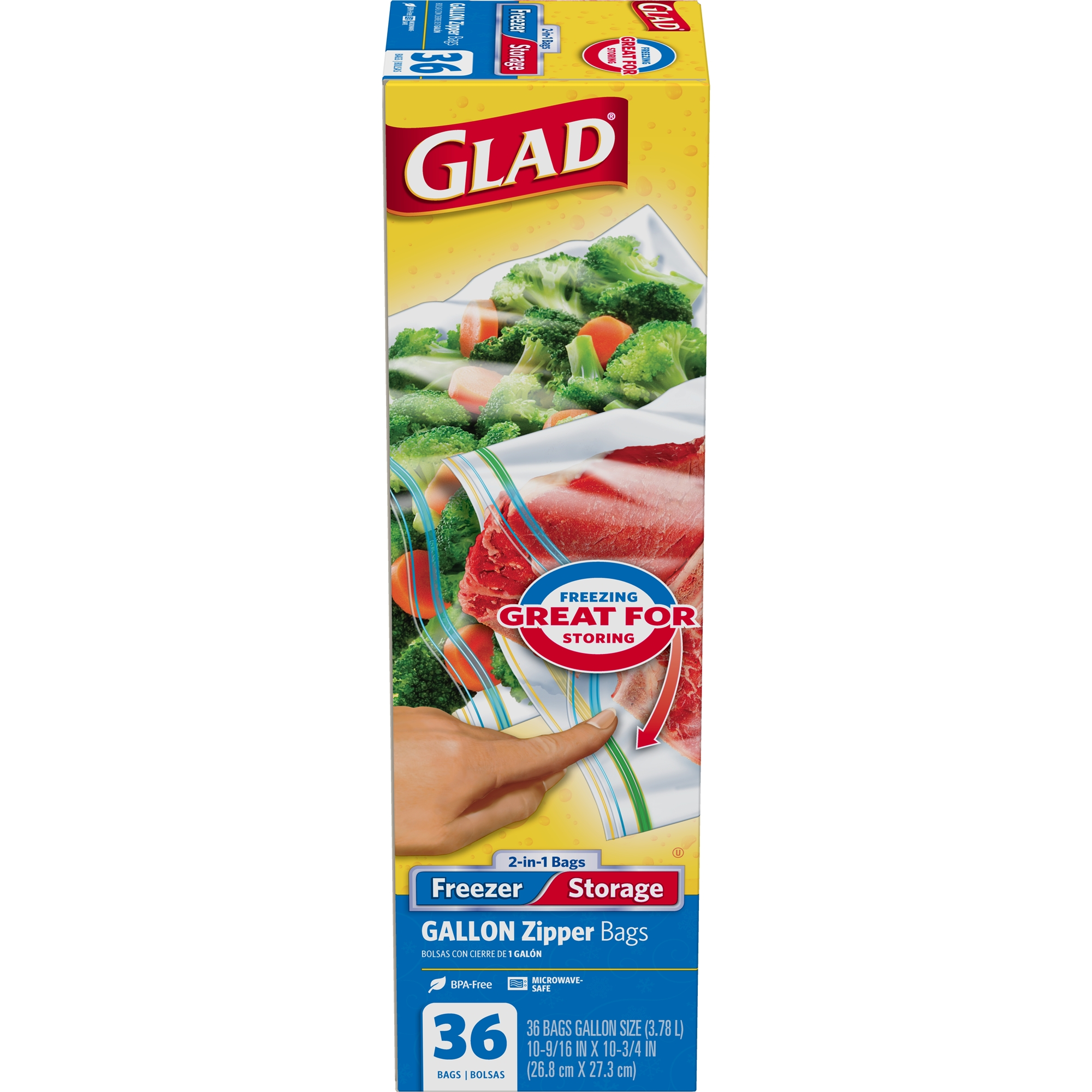 (2 pack) Glad Food Storage and Freezer 2 in 1 Zipper Bags - 1 gal - 36 ct