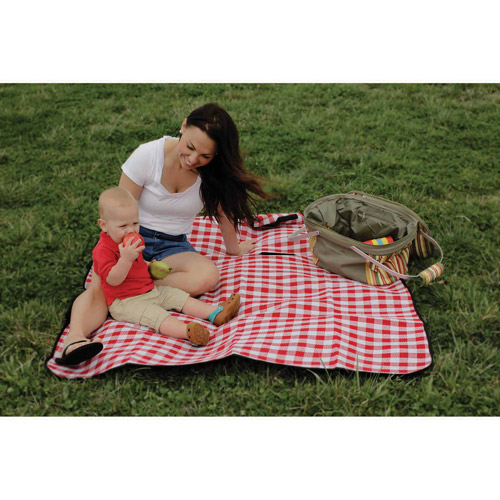 "Camco 42801 Picnic Blanket, Red and White Checkered, 51"" x 59"