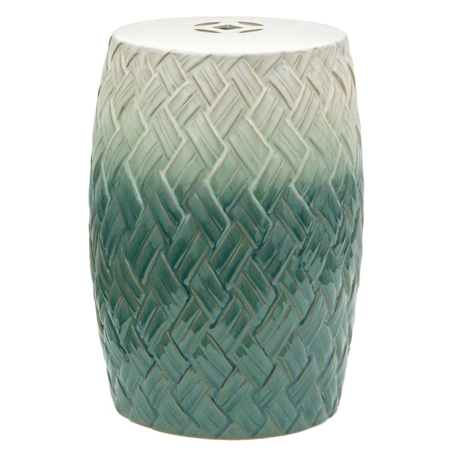 Oriental Furniture Carved Woven Design Porcelain 18 in. Garden Stool